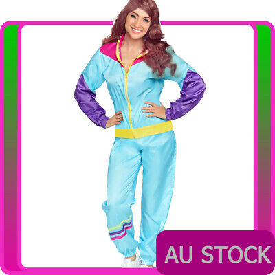 AU39.89 • Buy Ladies 80s Height Of Fashion Costume Green Retro Neon 1980s Shell Suit Tracksuit