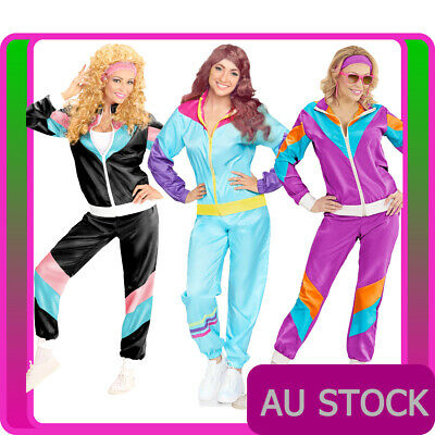 AU41.99 • Buy Womens 80s Height Of Fashion Costume 1980s Party Retro Disco Neon Tracksuit