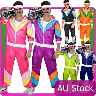 AU41.99 • Buy Mens Retro Neon 80s Height Fashion Scouser Tracksuit 1980s Shell Suit Costume