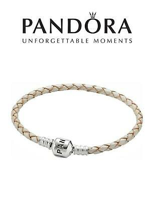 Genuine PANDORA 925 Sterling Silver PEARL BRAIDED LEATHER CHARM BRACELET 20.5 Cm • 29.99£