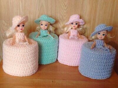 1 Toilet Roll, Dolls Cover, Crochet Ass Pastel  Or Bright Colours • 9.99£