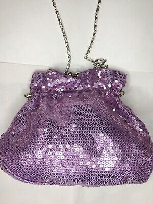 Leko London Pink Purple Fully Sequin Bag - With Detachable Chain Strap • 9.99£