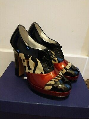 Terry De Havilland Patent And Animal Print Lace Up Shoes Size 37 • 40£