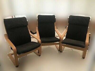 3 Ikea POÄNG Rocking Chairs And Stool Oak Veneer Armchair Black Fabric • 225£