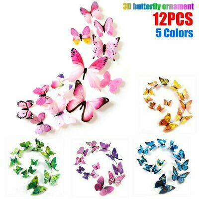 AU3.89 • Buy 12pcs 3D Butterfly Wall Decals Stickers Removable Kids Nursery Decoration