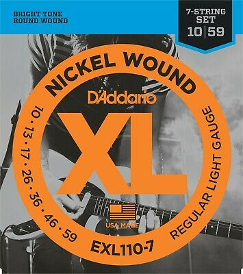 AU9.62 • Buy D'Addario 7 String EXL110-7 Electric Guitar Strings 10-59 Light Sets