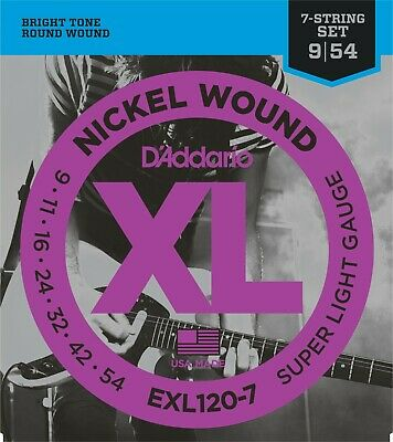AU8.84 • Buy D'Addario 7 String EXL120-7 Electric Guitar Strings 9-54 Super Light