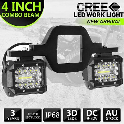 AU45.99 • Buy Trailer Tow Hitch Mount Bracket + 4'' LED Combo Beam Offroad Work Backup Lamps