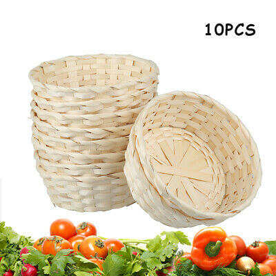 10 X Small Round Wicker Baskets Fruit Snacks Storage Natural Bamboo Gift Hampers • 14.39£