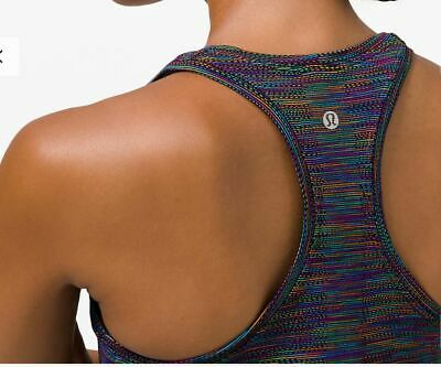 $ CDN99.99 • Buy Lululemon Nwt Swiftly Tech Racerback 2.0 Tank Top*love Black Rainbow Sz 4 Tennis