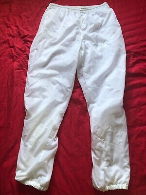 New White Shiny Nylon Track Shell Suit Bottoms Large With Drawstring • 14£