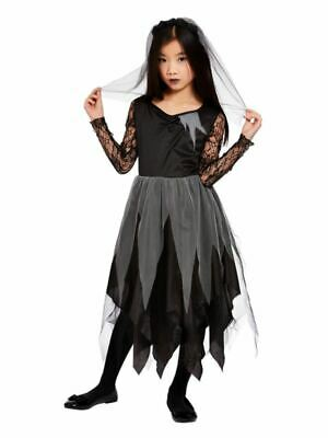 Girls Black Graveyard Bride Costume Halloween Zombie Undead Kids Childs Outfit • 16.99£