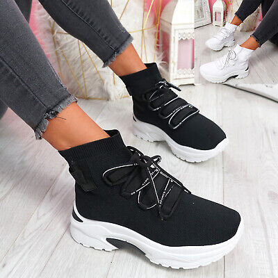 $ CDN33.51 • Buy Womens Ladies Sock Sneakers Lace Chunky Trainers Party Casual Women Shoes Size