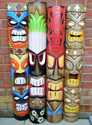 NEW DESIGN Carving Wooden TIKI MASK 100 Cm Wall Decoration Multicoloured  • 34.99£