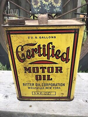 $ CDN547.91 • Buy RARE Certified Motor Oil Can 2 Gallon Ritter Oil Yellow Wellsville NY