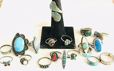 $ CDN182.02 • Buy Native American Lot 19 Sterling Silver 925 Ring Turquoise Coral Smaller Sizes