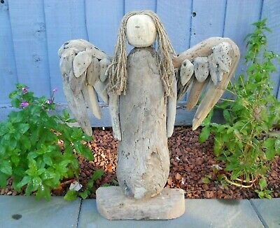 Amazing Quality Hand Made Driftwood Wooden Angel 48 Cm Garden Patio Home Decor   • 34.99£