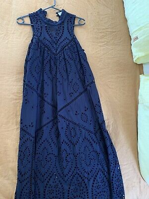 AU150 • Buy Zimmerman Harlequin Broderie-anglaise Cotton Midi Dress In French Navy Size 1