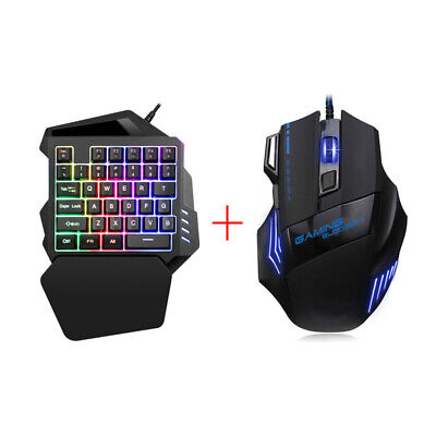 UK One Hand Gaming Keyboard And Mouse Set Wired Backlight For PC Computer Laptop • 13.59£