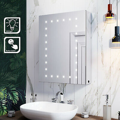 LED Bathroom Mirror Cabinet With Light 450x600mm Button Illuminated Cupboard • 110.69£