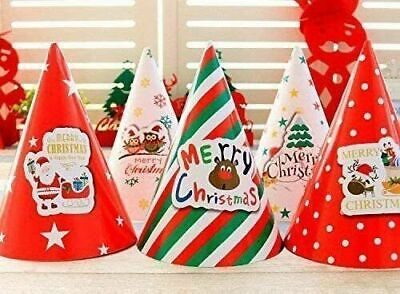 10x Coloured Merry Christmas Cone Hats Festive Crown Party Decoration Xmas Decor • 3.89£