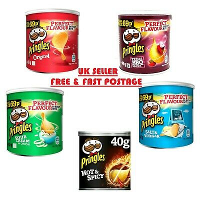 PRINGLES CRISPS 40g TUBS ALL FLAVOURS FREE DELIVERY WHOLESALE DISCOUNT • 11.99£