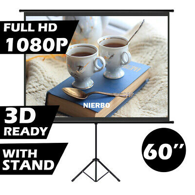 AU188.70 • Buy 60  4:3 Portable Tripod Projector Screen Home Cinema Pull Down Projection
