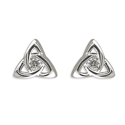 925 Sterling Silver Celtic Triangle Triquetra With Cubic Zirconia Stud Earrings • 9.99£