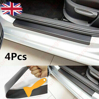 4pcs Car Carbon Fiber Door Sill Scuff Welcome Pedal Protect Sticker Accessories • 8.49£