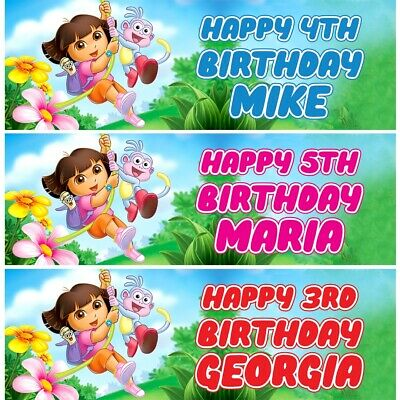 2 Personalised Dora The Explora Birthday Celebration Banners Decoration Posters • 14.49£