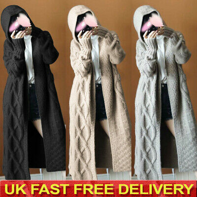 Womens Chunky Knit Sweater Open Front Hooded Coat Long Cardigan Coat Tops Jacket • 16.48£