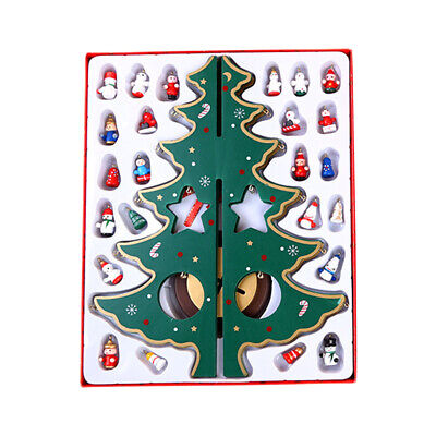 Wooden Standing Table Top Christmas Tree With Miniature Ornament Xmas Decor MM • 11.67£