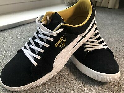 Mens Size 9 Puma Clyde Real Leather Trainers Sports Black White Mustard   • 5.50£