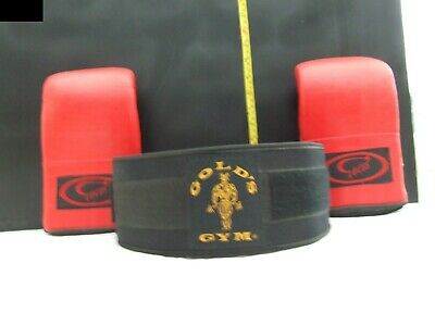 'Gold's Gym' Black Weight Lifting Belt Med And Locus Sparring Gloves Size Small. • 12.50£