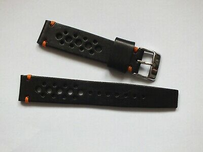 Genuine Leather Vintage Rally Watch Strap  20mm Black By Geckota • 3.99£