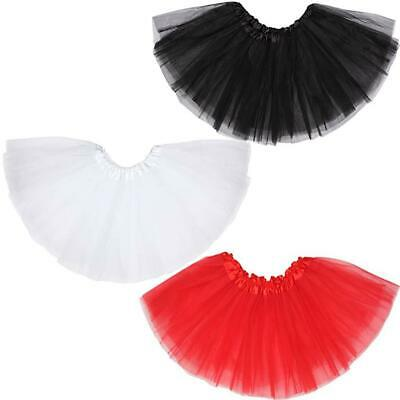 Childrens Silk Tutu Skirt Red Black White Halloween Christmas Ballet Fancy Dress • 3.79£