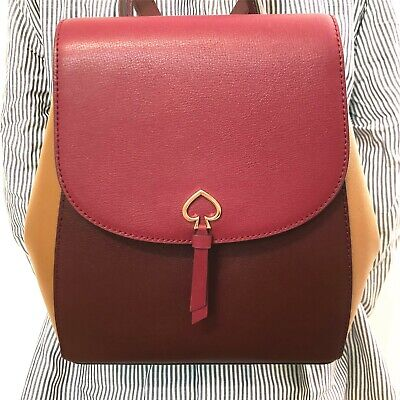 $ CDN145.34 • Buy Nwt Kate Spade Adel Medium Flap Colorblock Backpack Leather Cranberry $299