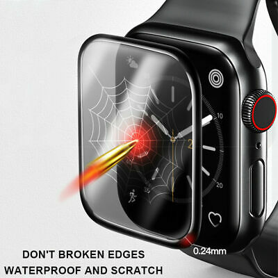 $ CDN2.28 • Buy Black For Apple Watch Series 2 3 4 5 Tempered Glass Screen Protector 40/44 Mm