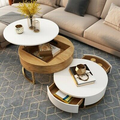 Modern Rotating Nesting White GoldFaux Marble & Wood Round Coffee Table & Drawer • 775£