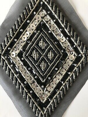 Vintage Art Deco Style Sequin Beaded Embroidered Iron On Applique Dress Trim • 4.99£