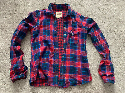 Womens Hollister Blue And Red Check Casual Shirt Size XS 6 8 • 3.99£