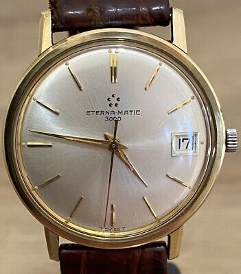 """GENTS 1960s """"ETERNA MATIC"""" 3000 Automatic GOLD & STEEL Watch With QUICK Set DATE • 450£"""