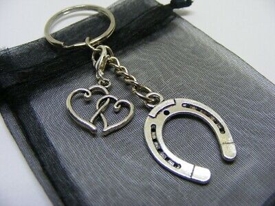 £3.95 • Buy Lucky Horseshoe & Entwined Love Hearts Charm Keyring With Gift Bag