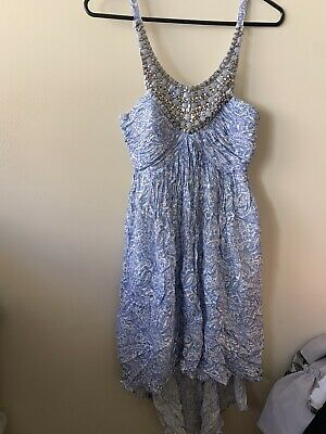 AU5 • Buy Forever New 6 Blue Summer High Low Dress Beaded