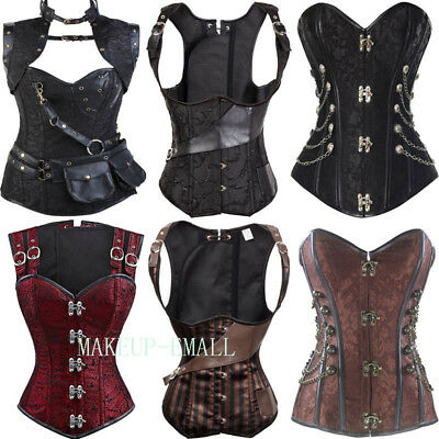 Women Gothic Steampunk Waist Training Corset Lingerie Bustier Lace Up Costume UK • 15.95£