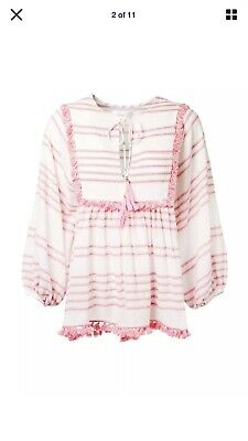 AU75 • Buy Zimmermann - Size 0 - White Cotton Top With Pink Stripes And Tassels