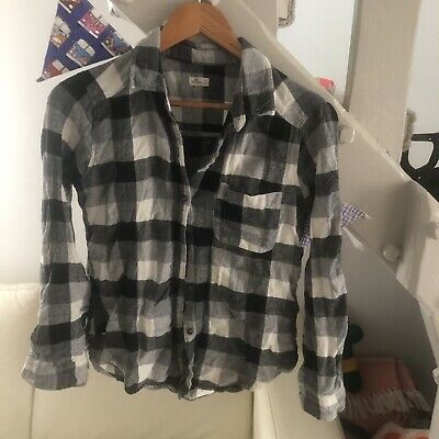 Hollister Vintage Style Flannel Checked Shirt Grey Womens Size Small #14 • 1.99£
