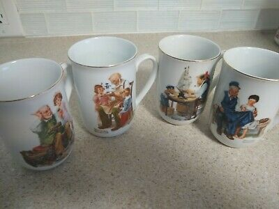 $ CDN26.35 • Buy Vintage Norman Rockwell Museum Coffee Mugs ~ Set Of 4 ~ 1982 ~ Gold Trim