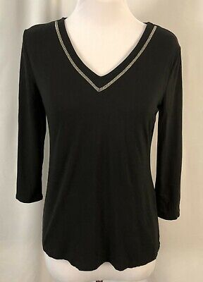 $ CDN16.48 • Buy White House Black Market Womens Top Black Silver Trim Rayon Spandex Small