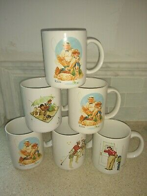 $ CDN38.23 • Buy 1987 Norman Rockwell Coffee Cups Mugs Museum Collections Inc Lot Of 6